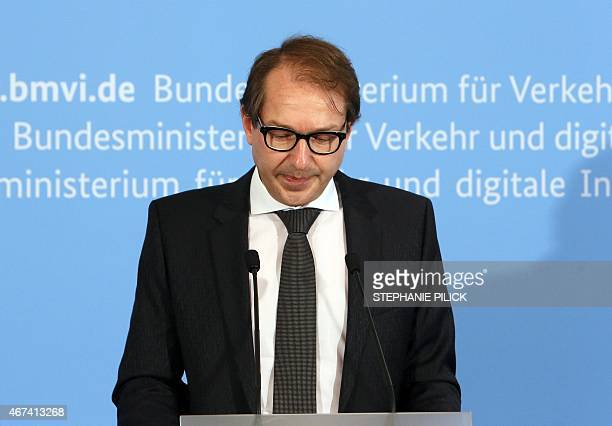 German Transport Minister Alexander Dobrindt speaks during a press conference follwing a Germanwings plane crash on March 24 2015 in Berlin An Airbus...