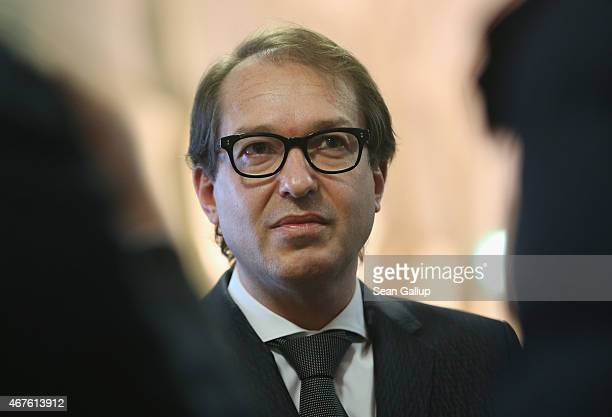 German Transport Minister Alexander Dobrindt speaks to members of the media about Germanwings flight 4U9525 following a press conference on March 26...