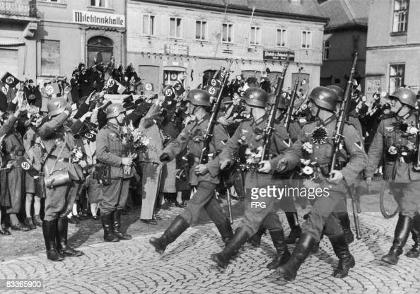 German troops enter Schonlinde in the Sudetenland as Nazi Germany annexes the region 2nd October 1938