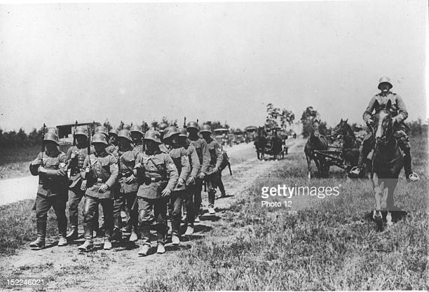 German troops entering the demilitarized Rhineland zone thus denouncing the Locarno Pact March 7 1936