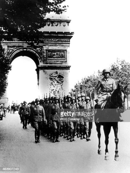 German troops marching on the Champs Elysees Paris 14 June 1940 Parade on the day that Paris fell to the Nazi invaders