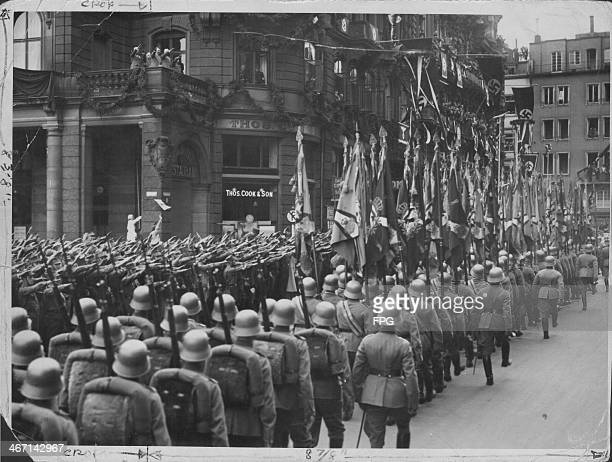 German troops marching through the city of Cologne following the reoccupation of the Rhineland prior to World War Two Germany circa 1936
