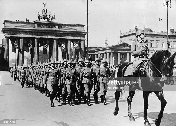 German troops on parade at the Brandenburg Arch in Berlin