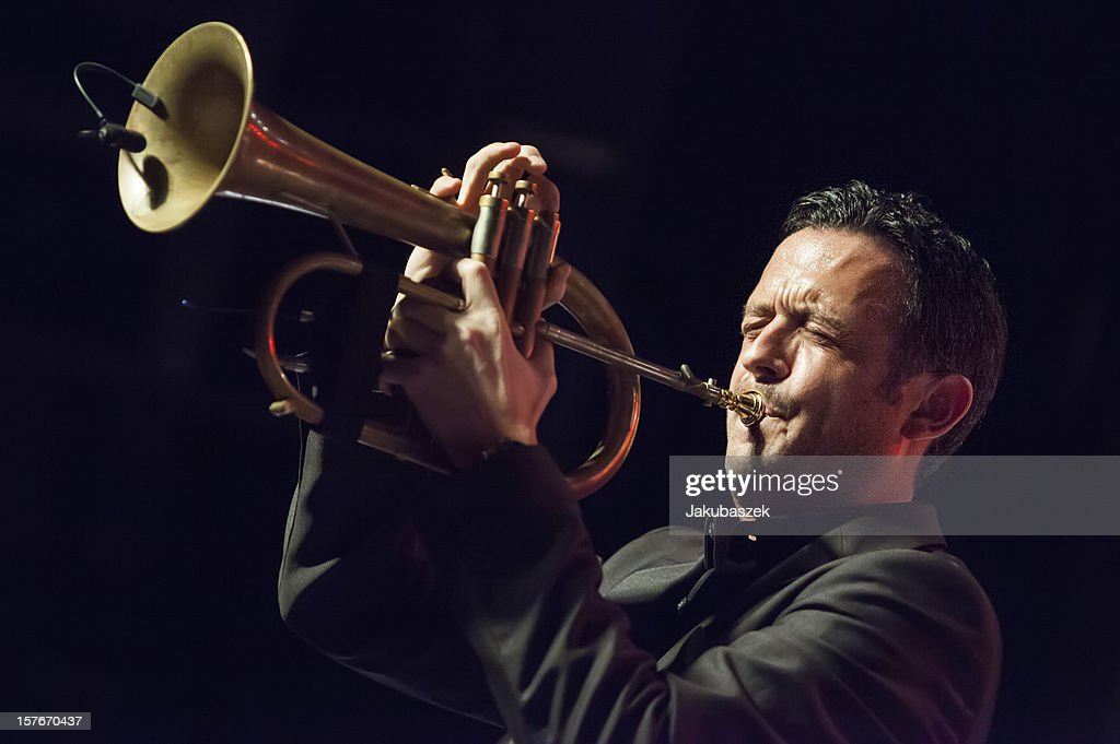 German trumpeter Till Broenner performs live during a concert at the Postbahnhof on December 5, 2012 in Berlin, Germany.