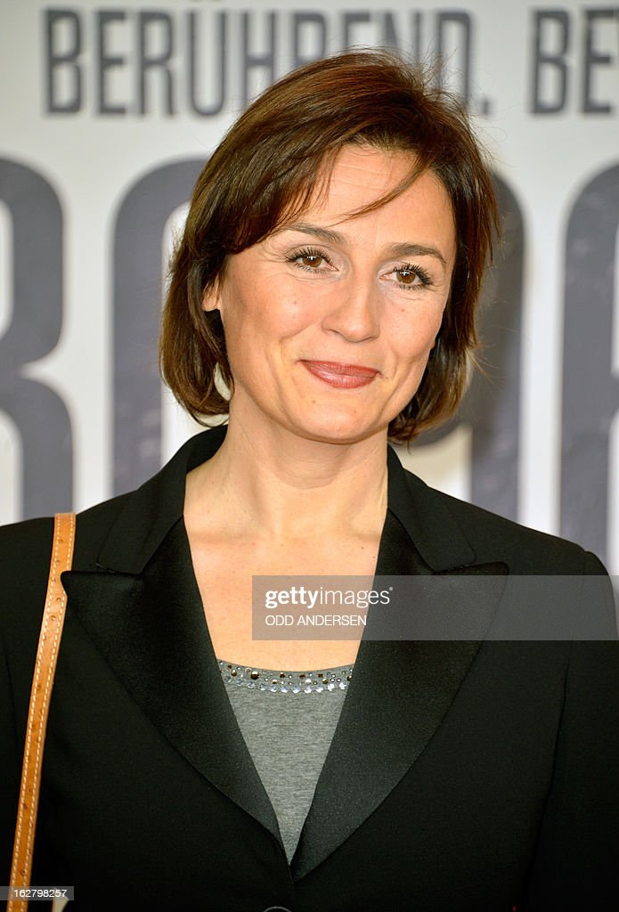 German TV journalist Sandra Maischberger poses for photographers as she arrives for the screening of '3096 days', a film based on Kampusch story, on February 27, 2013 at in Berlin. The film, based on the ordeal of Natascha Kampusch, is on set to open on February 28, 2013 in the German cinemas.