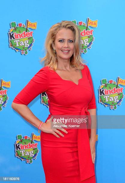 German TV presenter Barbara Schoeneberger attends the red carpet prior the Ferrero kinderTag 2013 event at Heidepark on September 19 2013 in Soltau...