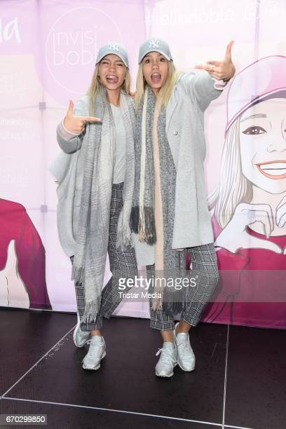 German twins Lisa and Lena M are seen during a meet greet on April 19 2017 in Berlin Germany