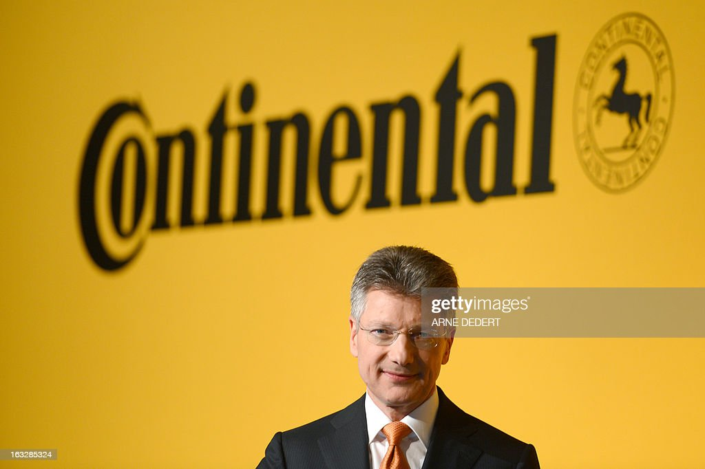 German tyre maker Continental AG's CEO Elmar Degenhart attends the company's financial statement press conference to announce its yearly results for 2012 in Frankfurt am Main, western Germany, on March 7, 2013. Continental, the German maker of automotive parts and tyres, said it achieved record results in 2012 and expects its success to continue this year. OUT +++