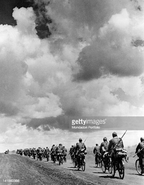 German unit of bicycle infantry moving to KharkivIzium battle area Ukraine July 1942