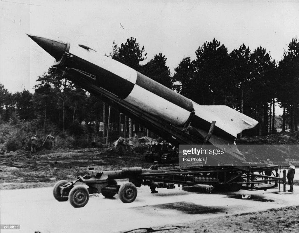 A German V-2 rocket ready for launching at Cuxhaven in Luneburg district, Lower Saxony.