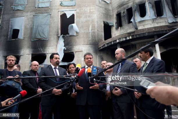 German Vice Chancellor and Economy and Energy Minister Sigmar Gabriel adresses the press after visiting the Mevlana Mosque in Kreuzberg district on...