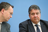 German Vice Chancellor and Economy and Energy Minister Sigmar Gabriel presents the German government's revised economic outlook as his colleague...
