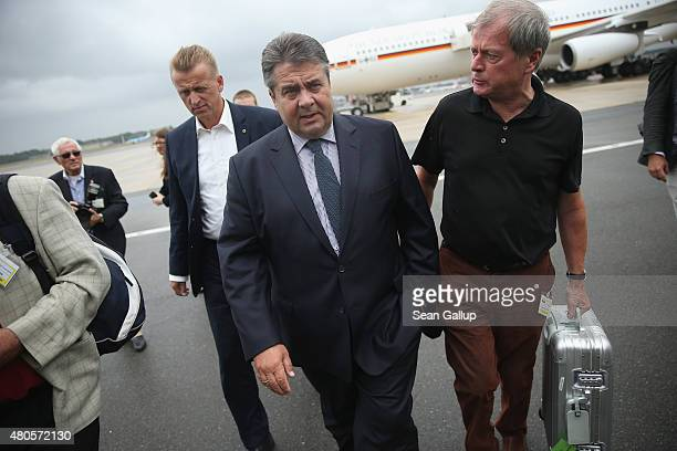 German Vice Chancellor and Economy and Energy Minister Sigmar Gabriel arrives to speak to the media about the justpassed Greece aid package before...
