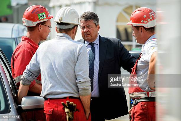 German Vice Chancellor and Economy and Energy Minister Sigmar Gabriel who is also party chairman of the German Social Democrats tours the...
