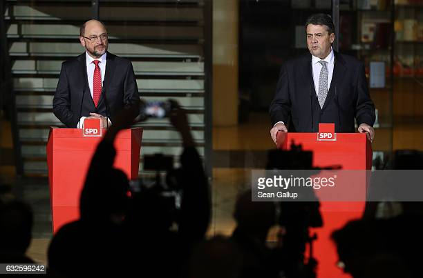 German Vice Chancellor and Economy and Energy Minister Sigmar Gabriel who is also Chairman of the German Social Democrats and Martin Schulz leading...