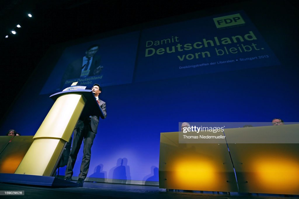 German Vice Chancellor and Economy Minister <a gi-track='captionPersonalityLinkClicked' href=/galleries/search?phrase=Philipp+Roesler&family=editorial&specificpeople=4838791 ng-click='$event.stopPropagation()'>Philipp Roesler</a>, who is also Chairman of the German Free Democrats (FDP) political party, talks during the annual FDP Epiphany congress on January 6, 2012 in Stuttgart, Germany. Roesler is coming under growing pressure to relinquish his post as party chairman to someone more charismatic and better suited in turning the party's declining popularity around. The FDP is the junior partner in the current German coalition government and current polls show the party struggling to stay above the critical 5% mark needed if it is to retain seats in the Bundestag in national elections scheduled for later this year.