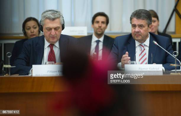 German Vice Chancellor and Foreign Minister Sigmar Gabriel and the United Nations' High Commissioner for Refugees Filippo Grandi attend a conference...
