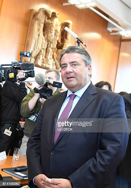 German Vice Chancellor Economy and Energy Minister Sigmar Gabriel waits for the opening of a hearing of an emergency appeal against the transatlantic...