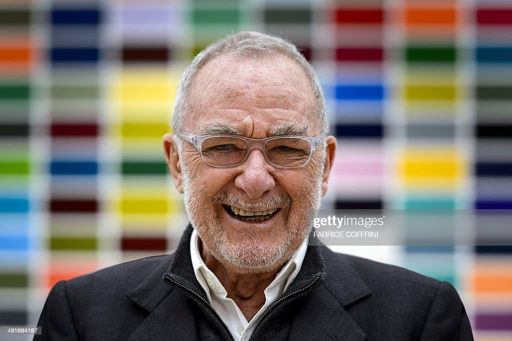 German visual artist Gerhard Richter laughs in front of one of his artwork during a photo-op on the sideline of his exhibition at the Fondation Beyeler on ... - german-visual-artist-gerhard-richter-laughs-in-front-of-one-of-his-picture-id491694187