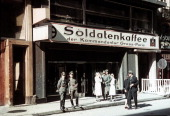 German Wehrmacht soldiers in front of the Soldatenkaffee der Kommandantur GrossParis Paris 1943 The cafe is one of many reserved for German military...