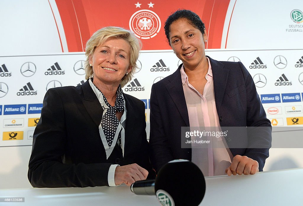 German Women's head coach Silvia Neid and new Women's head coach from September 2016 Steffi Jones attend a Germany press conference ahead of the FIFA...