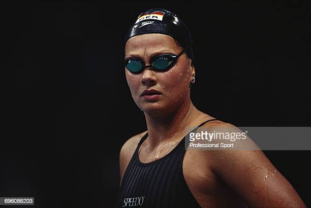 German world record holding swimmer Franziska van Almsick pictured during competition for the Germany team to finish in seventh place in the women's...