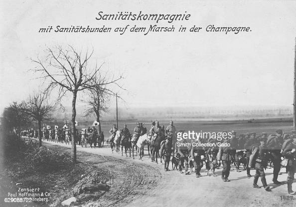 German World War I postcard depicting a medical company marching through Champagne France 1915 From the New York Public Library