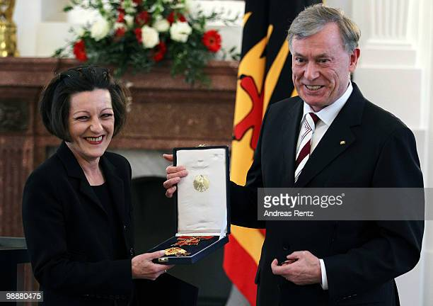 German writer Herta Mueller receives the Federal cross of Merit by German President Horst Koehler at Bellevue palace on May 6 2010 in Berlin Germany...