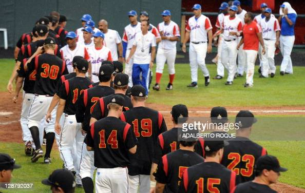 German y and cuba baseball teams greet a pictures getty images sciox Images