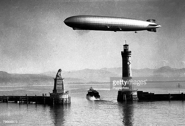 1935 German Zeppelin the 'Hindenburg' making a test flight