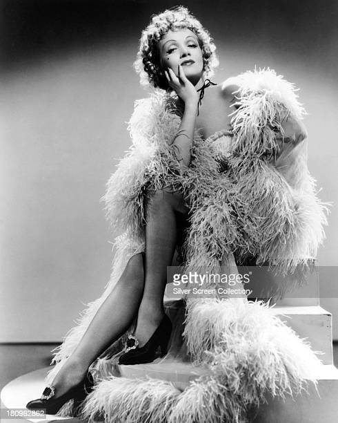 GermanAmerican actress Marlene Dietrich posing in a feather boa in a promotional portrait for 'Destry Rides Again' directed by George Marshall 1939