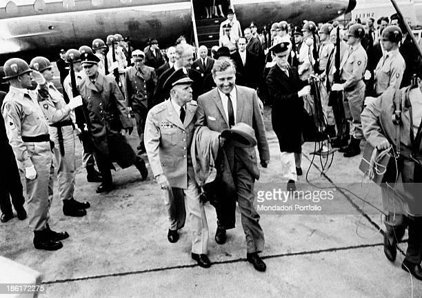 GermanAmerican scientist and engineer Wernher Von Braun born Wernher Magnus Maximilian Freiherr Von Braun is welcomed with military honour at his...