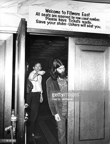Germanborn America concert promoter Bill Graham gestures through the open door of his concert venue the Fillmore East New York New York May 11 1968...