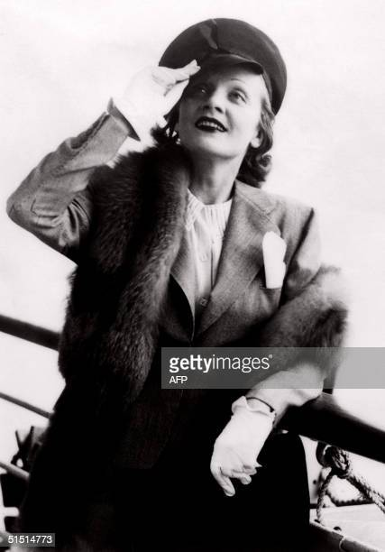 Germanborn American actress Marlene Dietrich salutes from the deck of a boat 05 May 1938 in Paris Marlene Dietrich originally Maria Magdalene von...
