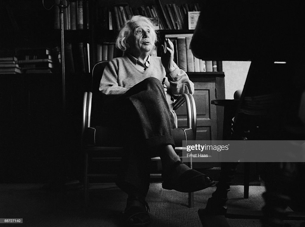 German-born American physicist Albert Einstein (1879 - 1955) in his study in Princeton, New Jersey, 1951.
