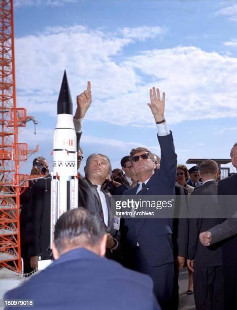 Germanborn American rocket scientist Werner von Braun and US President John F Kennedy tour Cape Canaveral Florida November 16 1963