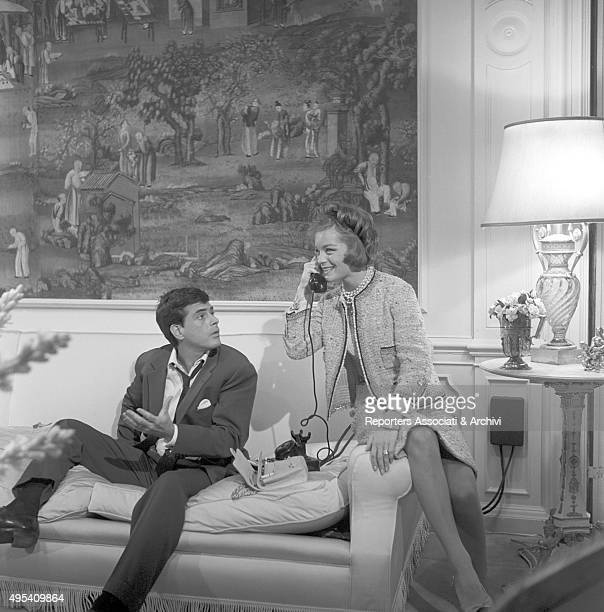 Germanborn French actress Romy Schneider phone calling beside Cubanborn American actor Tomas Milian in the episode Il lavoro from the film Boccaccio...