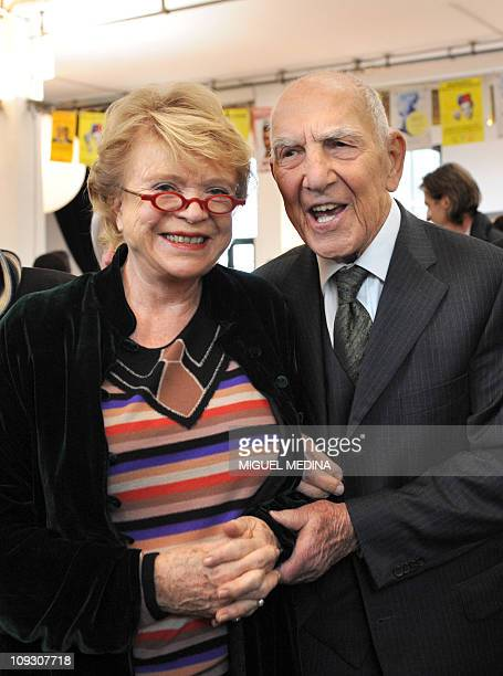 Germanborn French World War II resistance fighter and former ambassador Stephane Hessel author of the best seller 'Indignezvous ' next to...