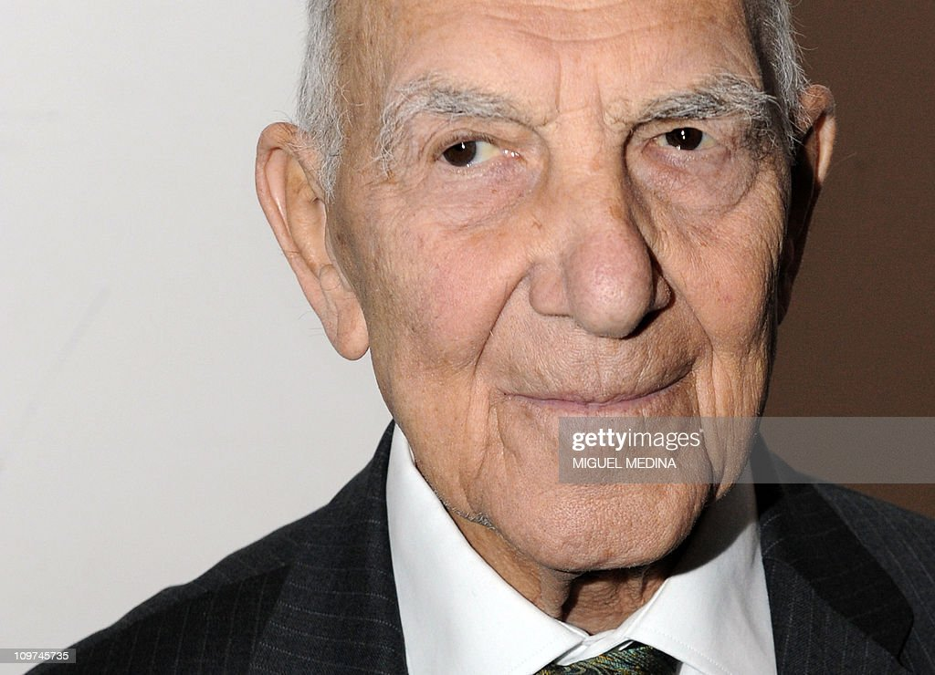 German-born French World War II resistance fighter and former ambassador <a gi-track='captionPersonalityLinkClicked' href=/galleries/search?phrase=Stephane+Hessel&family=editorial&specificpeople=4586777 ng-click='$event.stopPropagation()'>Stephane Hessel</a>, author of the best seller 'Indignez-vous !' (an essay calling citizens to challenge society) poses after receiving the Frantz Fanon prize on February 20, 2011 in Paris. The Frantz Fanon prize recognizes not only Hessel's anti-colonial activities in calling for an independent Palestinian state and peace in the region, but also for efforts he has made throughout his life.