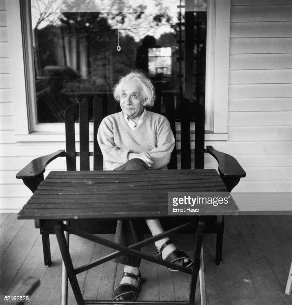 Germanborn mathematician and physicist Albert Einstein outside his home at Princeton New Jersey where he he is professor at the Institute for...