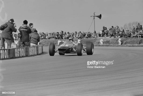 Germanborn racing driver Jochen Rindt driving team Roy Winkelmann Racing Brabham BT23 Ford Cosworth FVA car during the Formula 2 British Grand Prix...