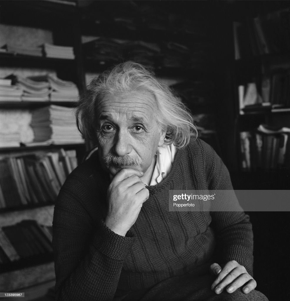 German-born theoretical physicist <a gi-track='captionPersonalityLinkClicked' href=/galleries/search?phrase=Albert+Einstein&family=editorial&specificpeople=70023 ng-click='$event.stopPropagation()'>Albert Einstein</a> (1879 - 1955) at home in Princeton, New Jersey, 1944.