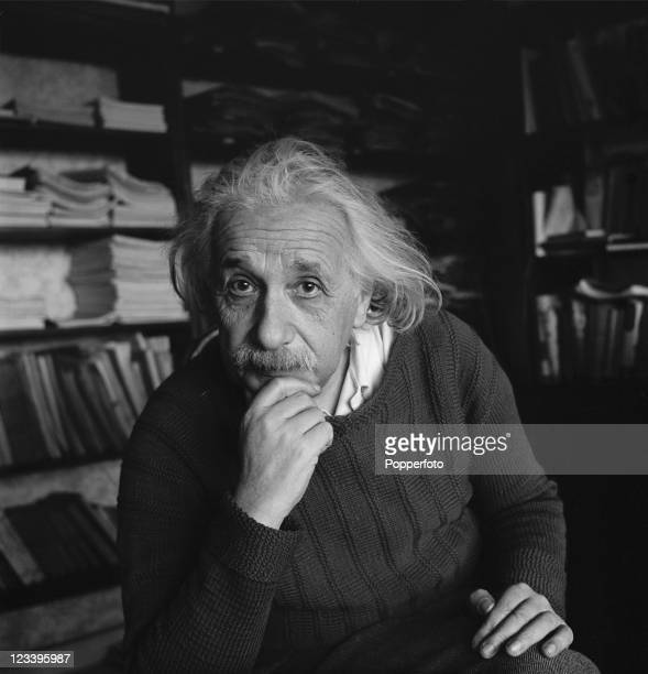 Germanborn theoretical physicist Albert Einstein at home in Princeton New Jersey 1944