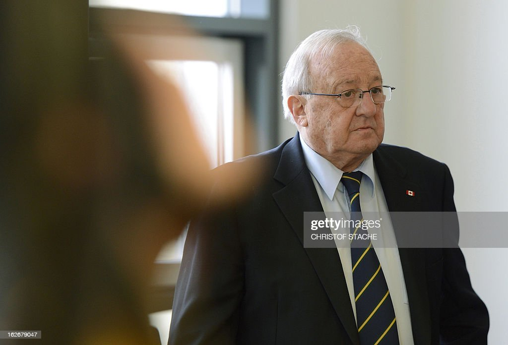 German-Canadian arms dealer Karlheinz Schreiber arrives at the regional court in Augsburg, southern Germany, on February 26, 2013. Schreiber played a central role in a sprawling slush-fund affair that rocked the Christian Democratic Union (CDU) party in the 1990s and tarnished the legacy of former chancellor Helmut Kohl.