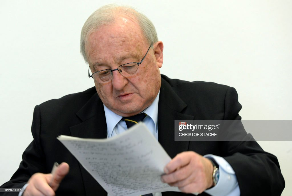 German-Canadian arms dealer Karlheinz Schreiber waits for the start of proceedings at the regional court in Augsburg, southern Germany, on February 26, 2013. Schreiber played a central role in a sprawling slush-fund affair that rocked the Christian Democratic Union (CDU) party in the 1990s and tarnished the legacy of former chancellor Helmut Kohl.