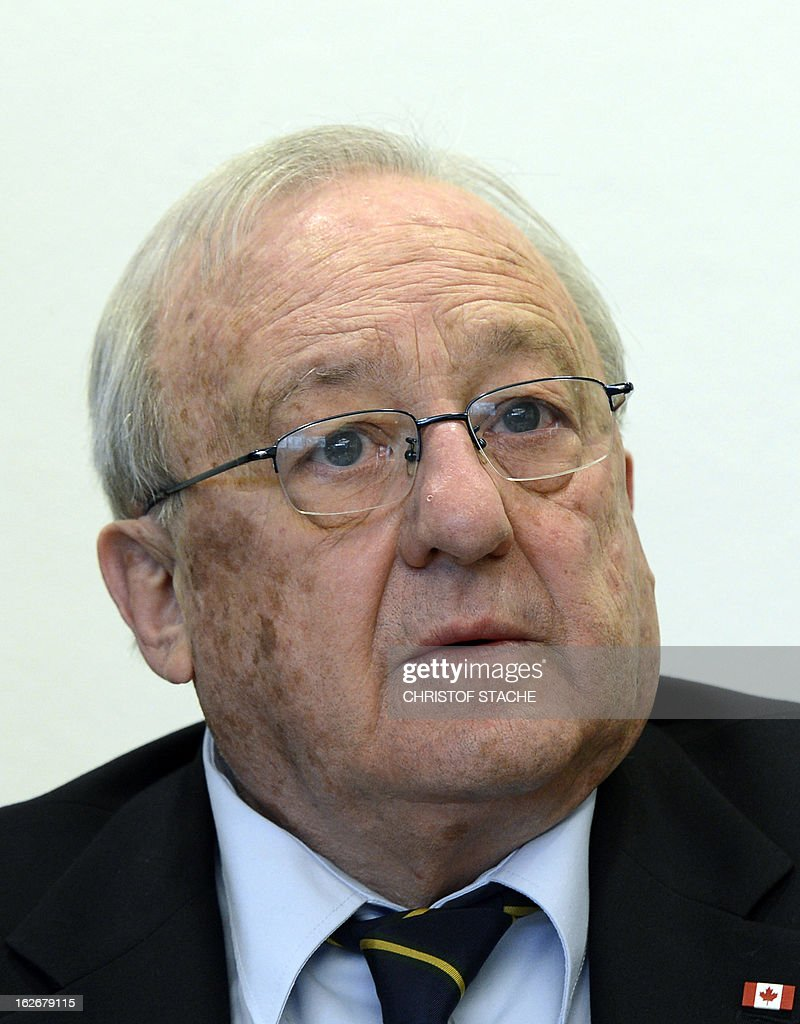 German-Canadian arms dealer Karlheinz Schreiber waits for the start of proceedings at the regional court in Augsburg, southern Germany, on February 26, 2013. Schreiber played a central role in a sprawling slush-fund affair that rocked the Christian Democratic Union (CDU) party in the 1990s and tarnished the legacy of former chancellor Helmut Kohl. AFP PHOTO/CHRISTOF STACHE