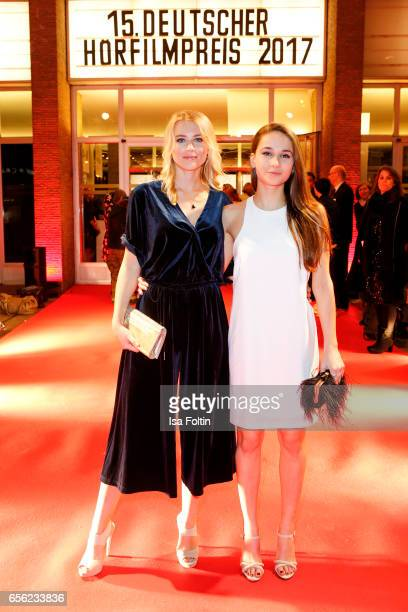 Germanfrench actress Jeanne Goursaud and guest arrive at the Deutscher Hoerfilmpreis at Kino International on March 21 2017 in Berlin Germany