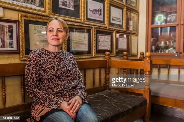 GermanIraqi filmmaker Furat al Jamil 49 yearsold is seen at the Shabandar Cafe on April 24 2015 in Baghdad Iraq Furat was exhibited at the Biennale...