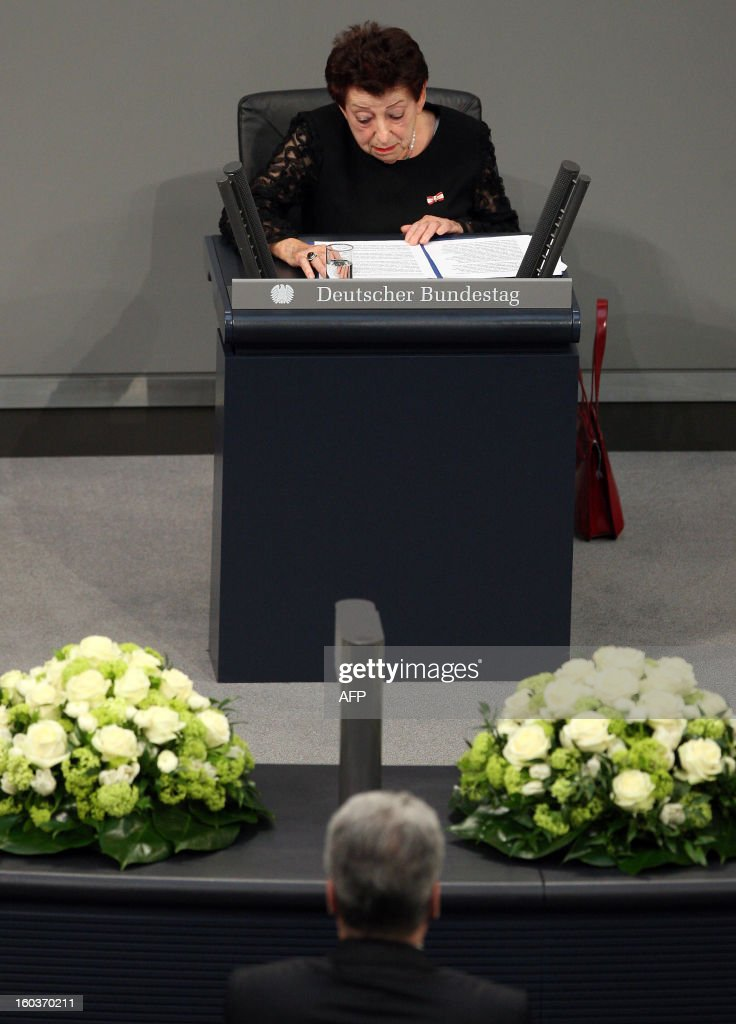 German-Israeli writer Inge Deutschkron delivers her speech at the German lower house of Parliament Bundestag, in Berlin on January 30, 2013 during a memorial held by deputies for the victims of the Nazi regime, and the anniversary of the liberation of Auschwitz concentration camp on January 27, 1945. Since the date fell on a Sunday this year, the event was held later, on the day marking 80 years since Adolf Hitler became chancellor. BERRY