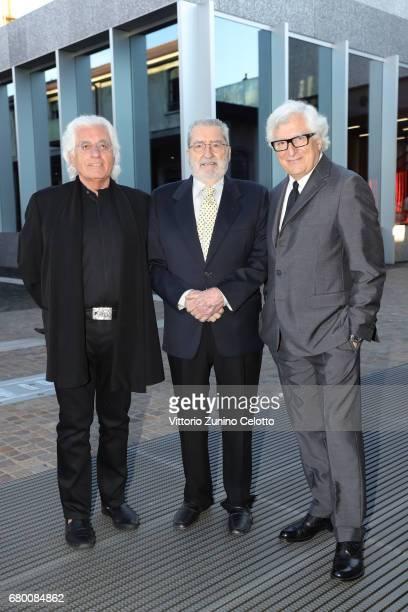 Germano Celant Giorgio Marconi and Patrizio Bertelli attend a 'Private view of 'TV 70 Francesco Vezzoli Guarda La Rai' at Fondazione Prada on May 7...